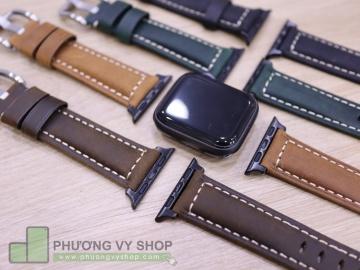 Dây da PU khóa bạc cho Apple Watch